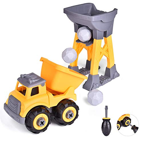 FUN LITTLE TOYS 2-in-1 Take Apart Toy Trucks for Kids, Sandbox Toys Outdoor Toys, Construction Engineering Stem Learning Toys for 3 4 5 6 Year Old Boys