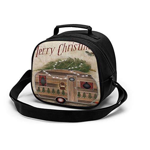 Merry Christmas Camper Bolsa de almuerzo aislada Mini enfriadora térmica con asa para niñas, niños, escuela, viajes, picnic, comida para niños