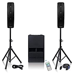 in budget affordable CARPO-V412DS line array speaker system with sound town subwoofer and two passives …