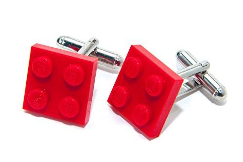 Jeff Jeffers Boutons de manchette Lego véritable Style cool/funky/rétro Rouge