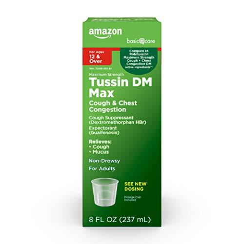 Amazon Basic Care Tussin DM Cough + Congestion Relief, Maximum Strength Liquid Cough Medicine, Raspberry Menthol Flavor, 8 Fluid Ounces