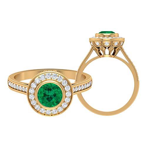 Anillo de compromiso D-VSSI Moissanite Halo de 6 mm de turmalina verde, anillo de compromiso, solitario con piedras laterales, anillo de corona de oro (calidad AAA), 14K Oro amarillo, Size:EU 48