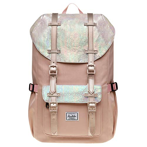 Laptop Outdoor Backpack, Travel Hiking& Camping Rucksack Pack, Casual Mini Size College School Daypack, Shoulder Book Bags Back Fits 15' Laptop & Tablets by Kaukko (P14-Fairy Rose tan)