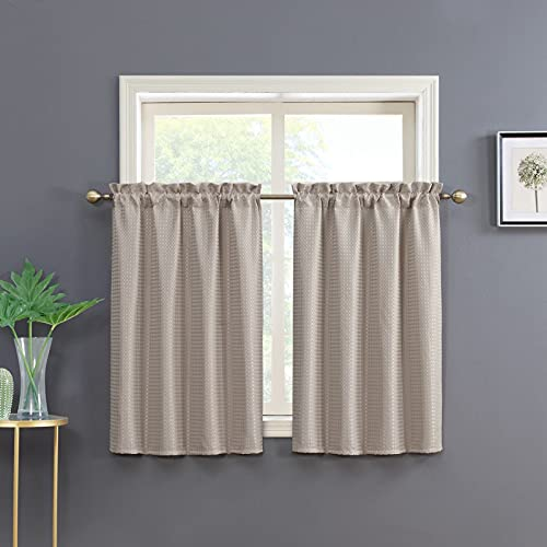 Home Queen Taupe Waffle Woven Bathroom Window Curtains Rod Pocket Tiers Kitchen Window Curtain, Set of 2, 36 X 45 Inch
