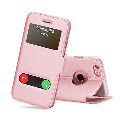 FYY Funda iPhone 6, Funda iPhone 6S, De Soporte Magnetico en la Parte Cubierta y Funcion de Ventana con Vista a Pantalla Superior para Apple iPhone 6/6S Rosa Dorada