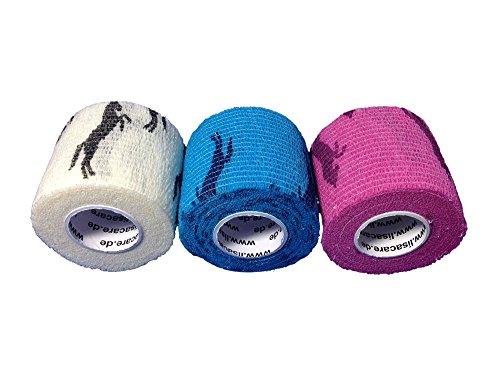 LisaCare Fixierbinde 5cmx4,5m | 3er Set Motive: Pferde Weiß Blau Rosa | Kohäsive Bandage | Wundverband | Pflasterverband | Pferdebandage | elastisch, dehnbar, selbsthaftend, ohne Kleber