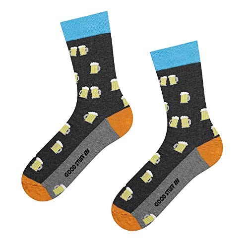 soxo Bunt Gemusterte Herren Socken | Lustige Motivsocken aus Baumwolle | Größe 40-45 (Beer)