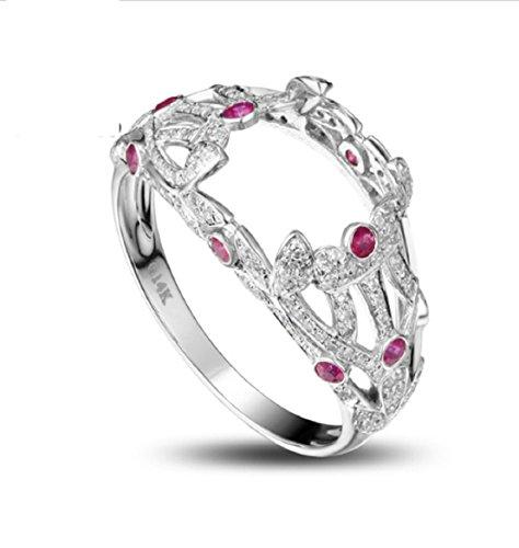 Gowe 10x 12mm Verlobungsring 14K 0.91Karat Diamant Smaragd Semi Mount Ring