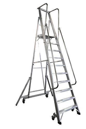 KTL Escalera Plegable con Plataforma y guardacuerpos 10 peldaños móvil Profesional Serie 2XL-s