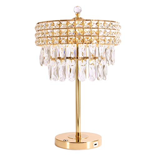 zxb-shop Lámpara de Escritorio para Sala de Oficina Cristalina Moderna Elegante lámpara de Cristal for el Dormitorio Interfaz USB Mesilla de Noche lámpara de Mesa Lámpara de Mesa de Noche