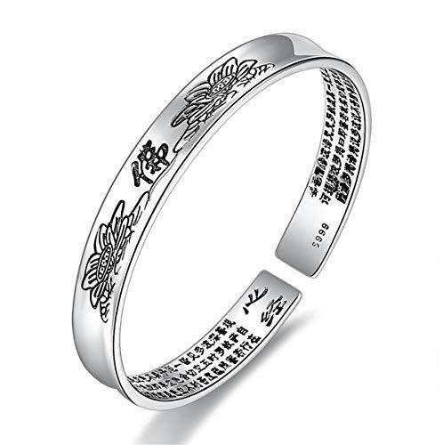 1 stuks armband dames zilver 925 retro Oosterse lotusvintage armband eenvoudige bedelarmbanden geschenken voor vrouwen of mama.