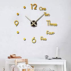 LEISENOR Large Modern 3D Frameless DIY Wall Clock Mute Mirror Stickers Decoration for Living Room Bedroom Easy Installation(No Battery) (Gold)