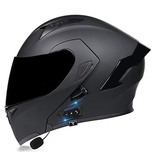 BCCDP Casque Modulable Moto Bluetooth Intégral Casque, avec Haut-Parleur IntéGré Double Visière,ECE Homologué pour Scooter· Casque De Moto Homme Et Femme M~XXL(55~62CM)