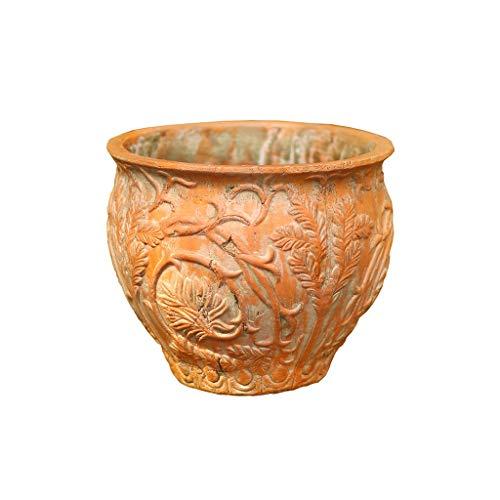 Jren-zk Gruesa de cerámica Planter, Alivio Viejo Estilo Do Tiesto Decoración Grande Macetas, Apto for Patios, terrazas, jardín (Color : C, Size : 19 * 19 * 19CM)