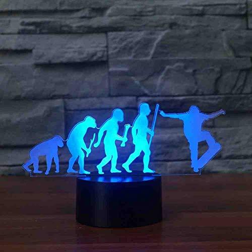 RJGOPL 7 kleuren skateboard Human Evolution model tafellamp 3D Visual LED nachtlampje usb Sleep Lighting Sport rekken Bedroom Decor