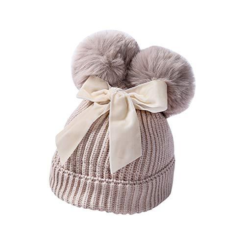 Zxebhsm Chapeau d'hiver Chapeaux Chaud Hiver tricoté Enfants Chapeau Fille Chapeau Plus épais Enfants Chics Bonnet bowot Bow Beau Chapeau 2020 (Farbe : Beige, Größe : Einheitsgröße)