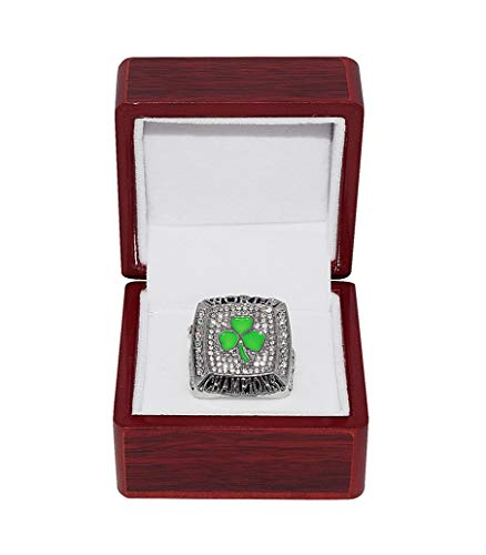 BOSTON CELTICS (Kevin Garnett) 2008 NBA FINALS WORLD CHAMPIONS (Banner 17 Win) Collectible High-Quality Replica NBA Basketball Silver Championship Ring with Cherrywood Display Box