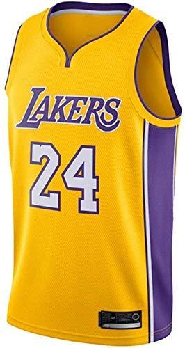 Kobe Bryant Jersey Nº 24 Los Angeles Lakers Camiseta de Baloncesto para Hombre (Amarillo, L)
