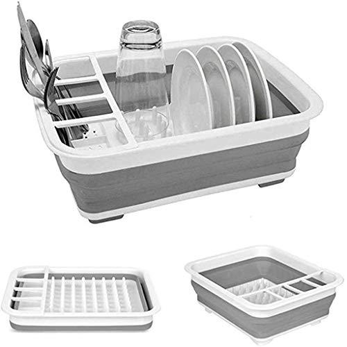 Ckssyao Zusammenklappbar Dish Drainer mit Abtropffläche Board - Faltbarer Wäschetrockner Set - Tragbare Essgeschirr Organizer - Platzsparend Küche Storage Tray,Grau