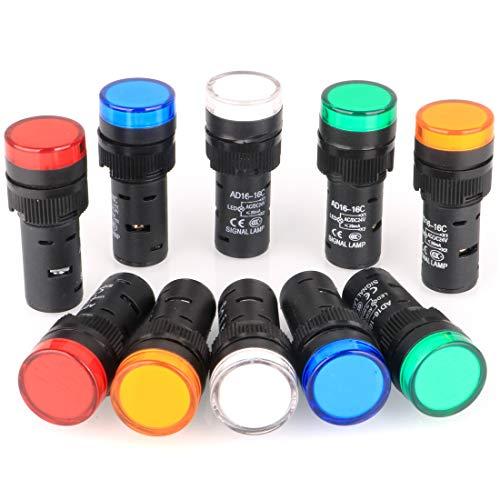 Gebildet 10 Piezas 16 mm Luz Indicadora 12-24 V LED Montaje en Panel Empotrado (Rojo/Verde/Azul/Naranja/Blanco, Cada Color 2 Piezas)