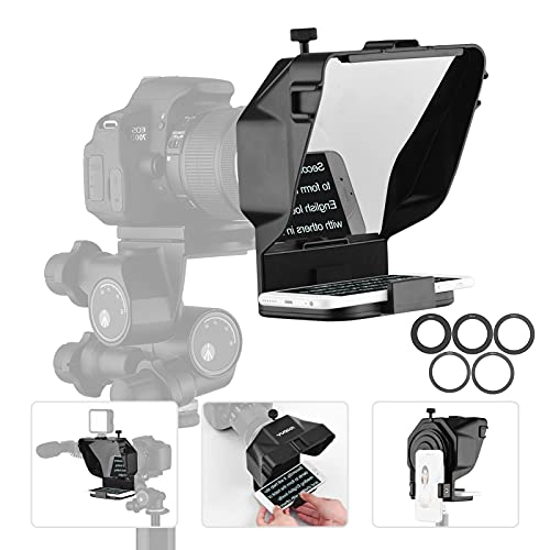 Mini Teleprompter para Youtube Tiktok Video Live Streaming, teléfono Inteligente, artefacto de vídeo, Samsung, grabación de cámara sin Espejo (Color : For Camera+Phone~Without Stand)