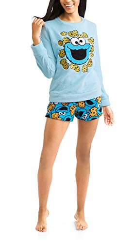 Sesamy Street Top and Short Plush Fleece Womens 2 Piece Sleep Pajama Sets, Cookie Monster, Size X-Large