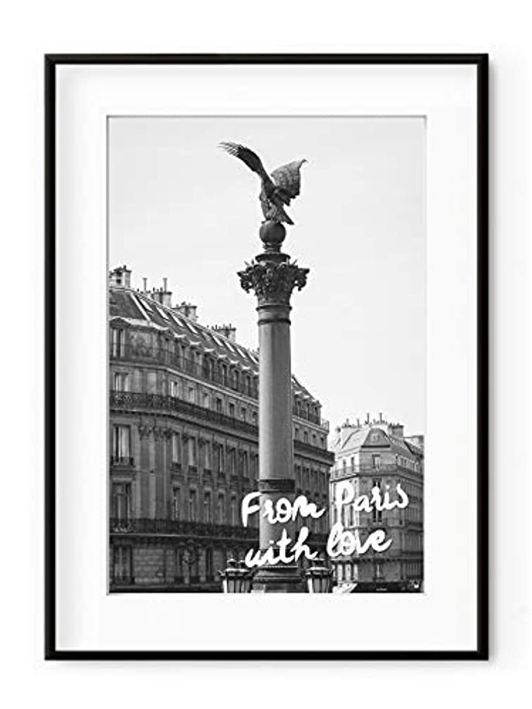 from Paris with Love Satin Black Aluminium Frame with Mount, Multicolored, 30x40