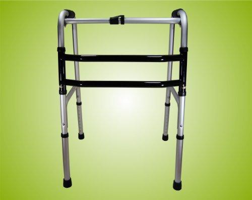 Teckmedi Gehgestell, Gehbock, Gehhilfe, Stehhilfe, Reziprok, faltbar, höhenverstellbar aus Aluminium Top-Qualität