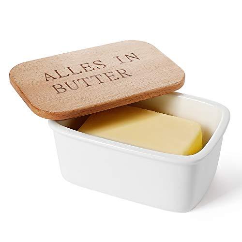 Sweese 301.115 Butterdose Porzellan mit Holzdeckel, für 250 g Butter, Alles IN Butter