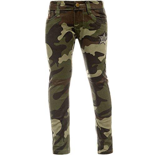 BEZLIT Mädchen Chino Hose Camouflage Verstellbaren Bund Nieten 21880 Grün 152