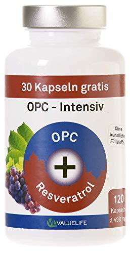 OPC Intensiv: Antioxidant Komplex hochdosiert. Traubenkernextrakt + Resveratrol. Keine Zusätze. 120 vegane Kapseln. Geprüfte Premiumqualität mit Zertifikat