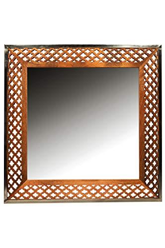 Orient spiegel wandspiegel Marokko 87cm groot | Grote Marokkaanse halspiegel met houten frame Oriental met de hand gesneden | Oosterse vintage badkamerspiegel zonder verlichting als oosterse decoratie