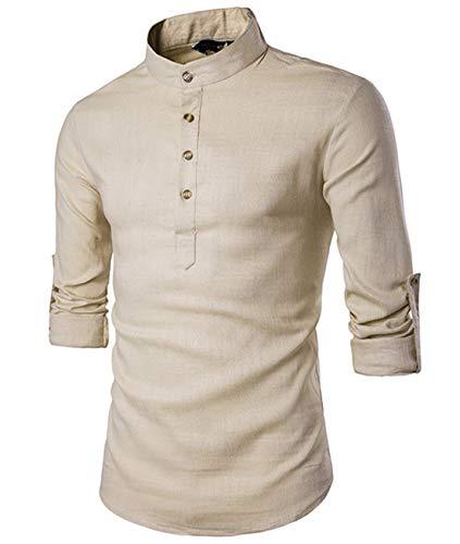 Cyiozlir Chemise Homme Col Mao Manches Longues Lin Chemises Col Debout Slim Fit Henry Shirt Décontractée Taille S-2XL (Beige,Large)