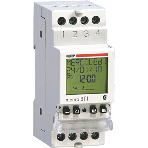 Vemer 1 VE767600 MEMO BT1 Interruptor configurable de tiempo/astronómico con interfaz bluetooth da barra DIN 230Vac, 1 canal, 230 V
