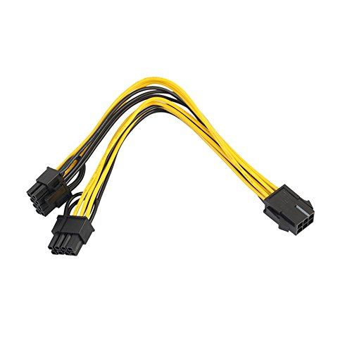 Favourall PCI-E 6-pin to 2 x 6+2-pin (6-pin/8-pin) Power splitter kabel PCIE PCI Express, 20cm/7.87in