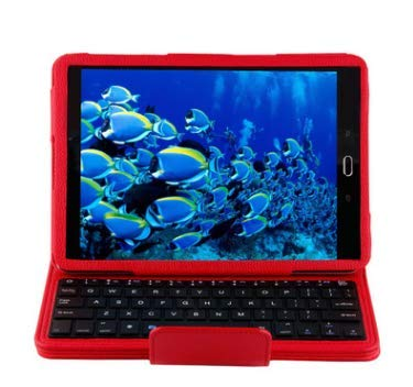 Cuifati Wireless Bluetooth Keyboard Case,Tablet Wireless Bluetooth Keyboard Case Cover for Sumsung, with Removable Wireless Keyboard for 9.7' Samsung Galaxy Tab S2 9.7 Android Tablet (Red)