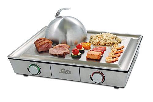 Solis Tafelgrill, roestvrij stalen grillplaat, tapanyaki-bel, twee verwarmingszones, grillen en stoven, Teppanyaki at Home Grill