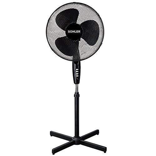 "Sohler 216598 Black 16"" Standing Pedestal Stand Fan Adjustable Oscillating Rotating Stay Cool 3 Speed"