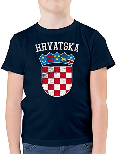 Fußball-Europameisterschaft 2021 Kinder - Kroatien Wappen WM - 152 (12/13 Jahre) - Dunkelblau - wm Trikot Kinder 2018 Kroatien - F130K - Kinder Tshirts und T-Shirt für Jungen