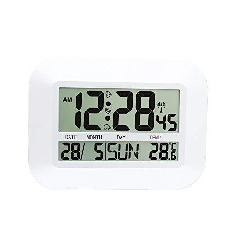 LHZTZKA Digitale wandklok met radiografisch gestuurde wandklok met intelligente meertalig wekker. Snooze-temperatuurkalender voor thuisgebruik.