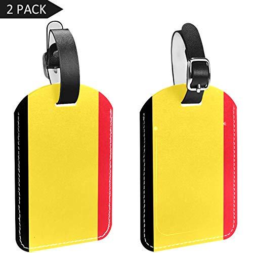 LORVIES Bandera de Bélgica Etiquetas de equipaje etiquetas de viaje etiqueta nombre tarjeta titular para equipaje maleta mochila 2 piezas