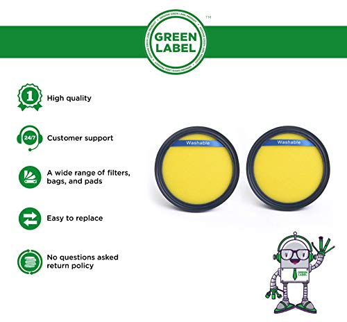 Green Label 2 Pack Replacement Allergen Dust Cup Foam Filter DCF-25 for Eureka Upright Vacuum Cleaners (Compares to 67600)