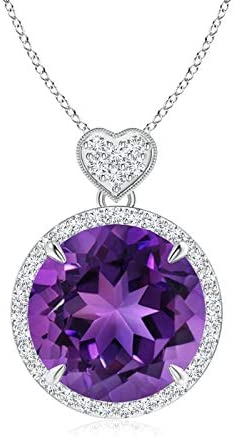 Amethyst Halo Pendant with Diamond Manufacturer direct delivery Heart White Gold in Max 44% OFF 14K Motif