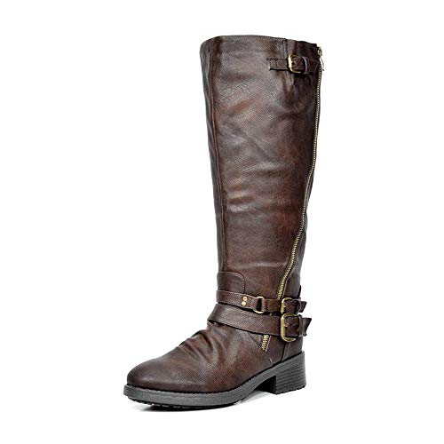 DREAM PAIRS Women's Atlanta Brown Fur Lined Knee High Riding Boots Wide Calf Size 8 M US