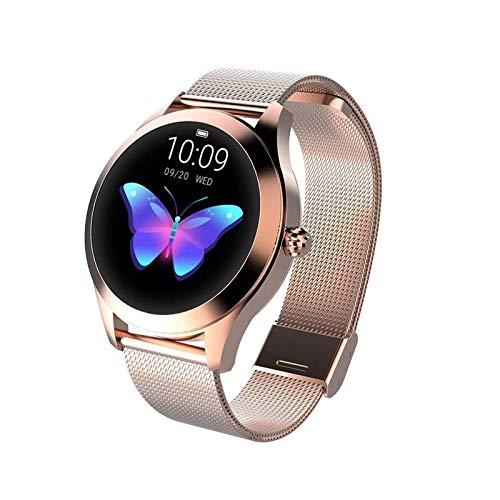 Runder Touchscreen IP68 wasserdichte Smartwatch für Frauen, Smart Watch KW10, Fitness Tracker mit Herzfrequenz- und Schlaf-Pedometer, Armband für IOS/Android (Color : Gold)
