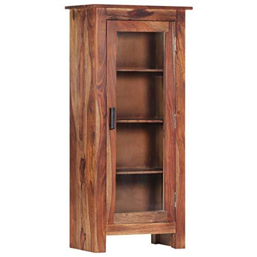 Tidyard Massivholz Sheesham Retro Bücherschrank, Bücherregal Highboard Mit 4 Fachböden und 1 Glastür, Wohnzimmerschrank, Retro-Möbel Aufbewahrung für Bücher, Bad und Wohnzimmer