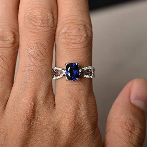 Cushion Cut Lab Blue Sapphire Engagement Ring September Birthstone Ring Blue Gemstone Sterling Silver Ring Anniversary Ring Unique Rings blue jewelry Christmas gift solitaire ring moissanite ring