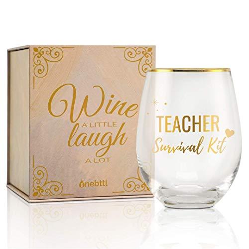 Bestes Lustige Geschenke Für Lehrer Weingläser ohne Stiel, Geschenk Lehrer Tasse, 530ml (18oz) Weinglas mit Geschenkbox für Alle Lehrer, zum Geburtstag Weihnachten - 02
