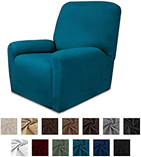Easy-Going Fleece Stretch Sofa Slipcover – Spandex Anti-Slip Soft Couch Sofa Cover, Washable 4-Piece Furniture Protector with Elastic Bottom for Kids, Pets(Recliner,Peacock Blue)