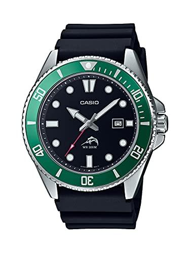 Casio Men's Stainless Steel Quartz Sport Watch with Resin Strap, Black, 26 (Model: MDV-106B-1A3VCF)